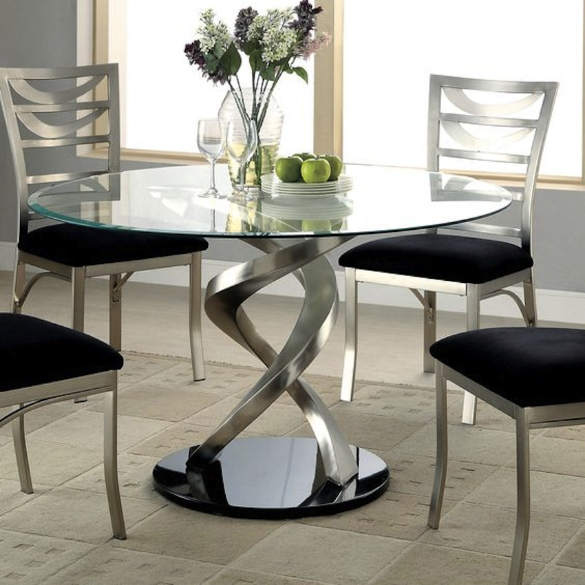 Glass dining room table and chair sets table ideas dining for Modern dining room table
