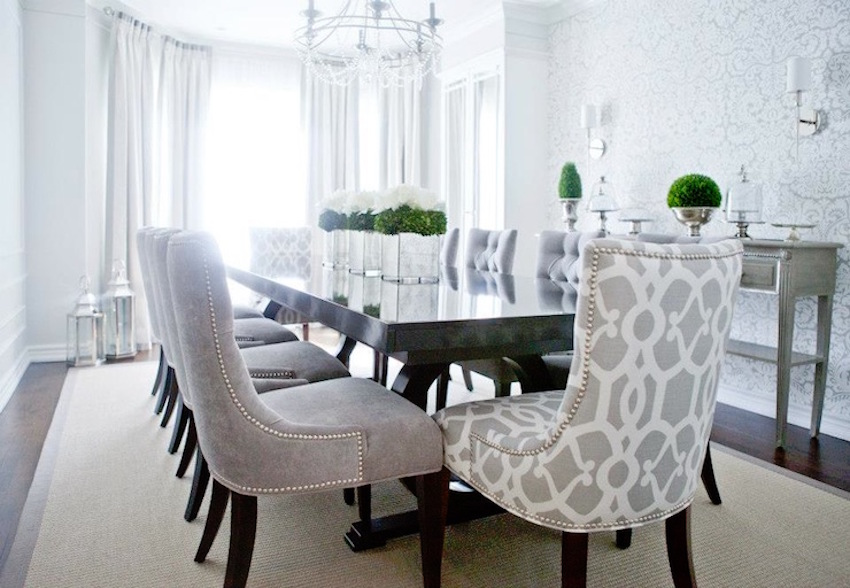 10 marvelous dining room sets with upholstered chairs for Dining room velvet chairs