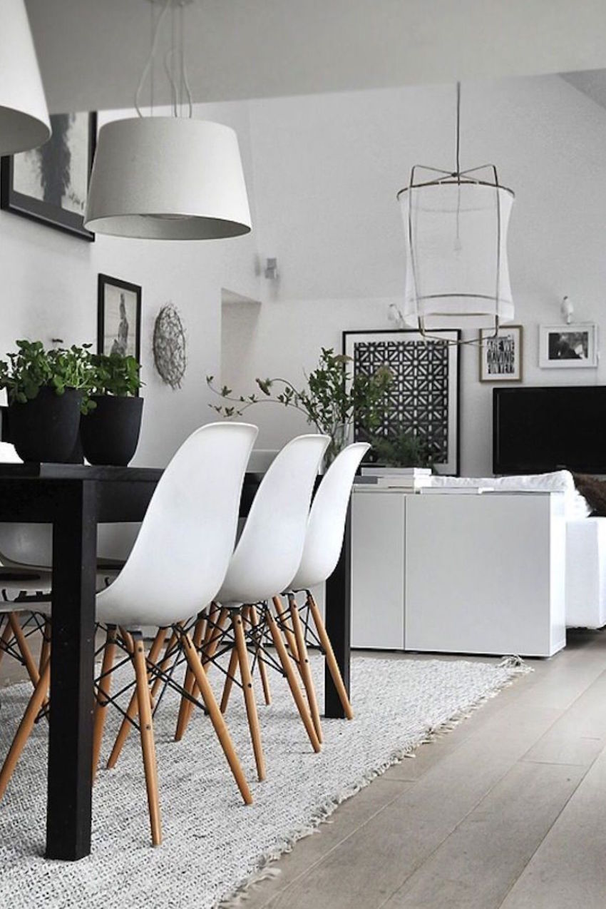 10 modern black and white dining room sets that will for Dining room ideas eames