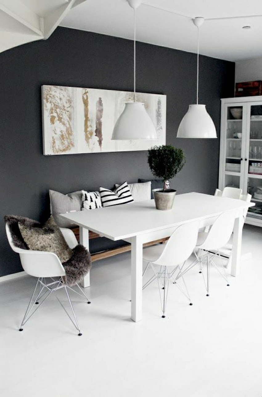 10 modern black and white dining room sets that will for Black and white living room set