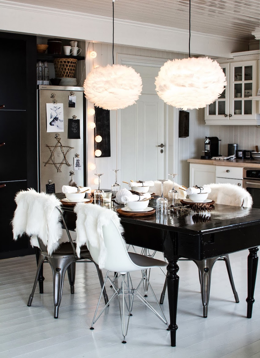 10 modern black and white dining room sets that will for Black white dining room set