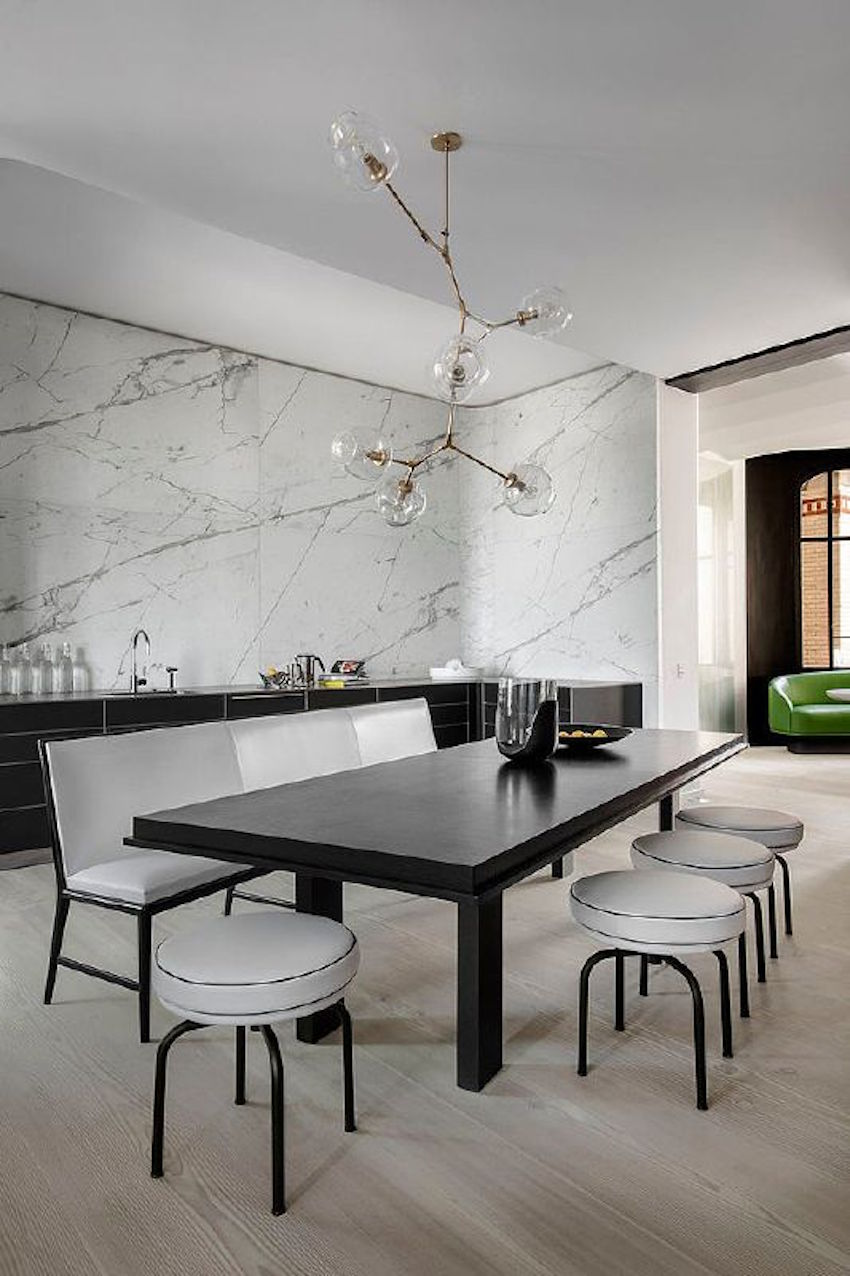 10 modern black and white dining room sets that will for Black dining room walls