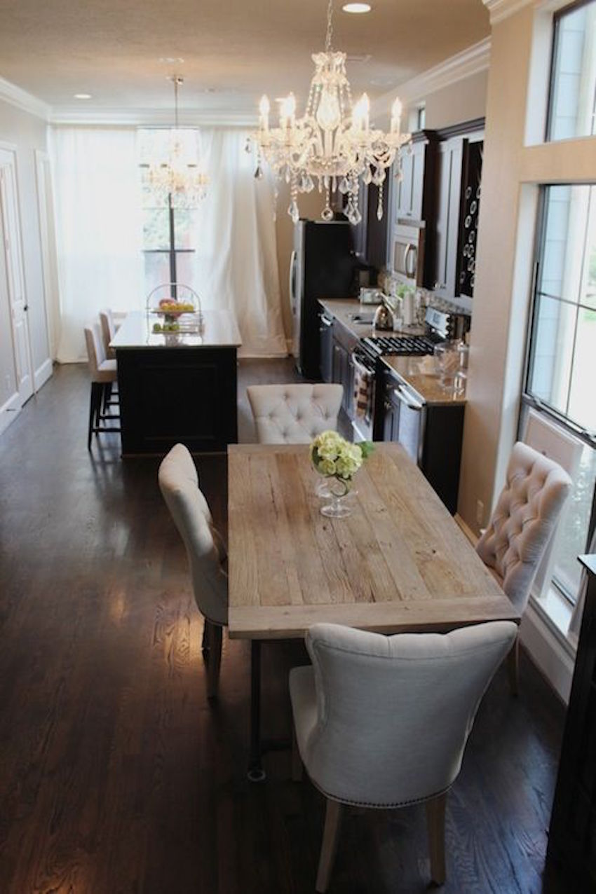 10 narrow dining tables for a small dining room for Dining room table and chair ideas