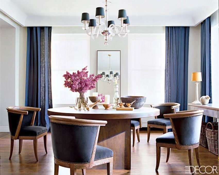 10 outstanding dining room interiors by nate berkus for Navy dining room ideas