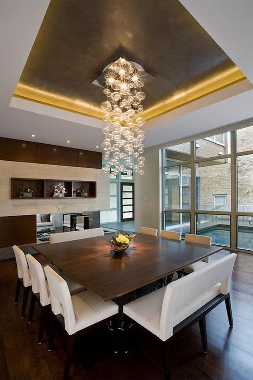 10 superb square dining table ideas for a contemporary for Dining room lighting contemporary