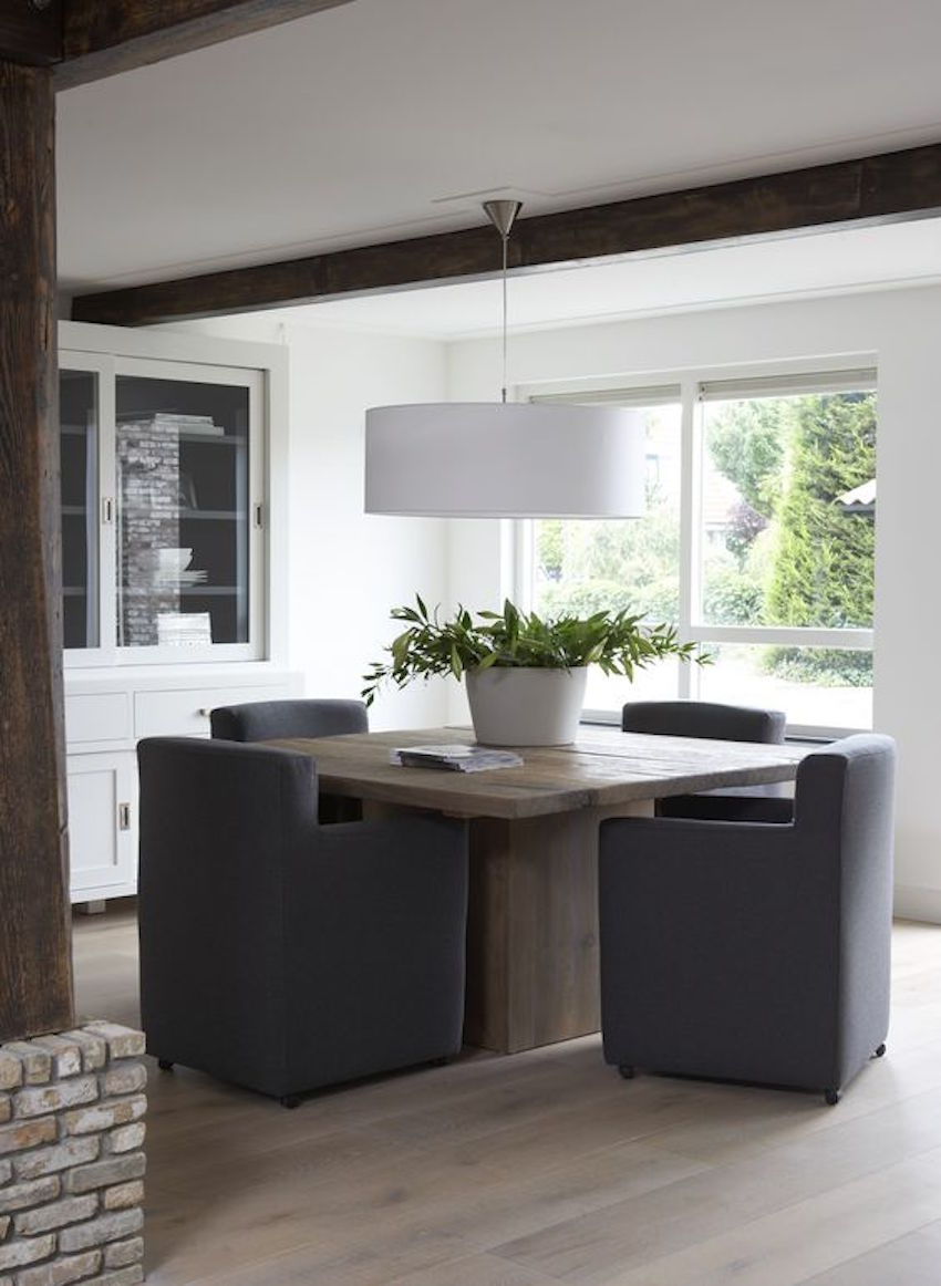 10 superb square dining table ideas for a contemporary for Modern oak dining room sets