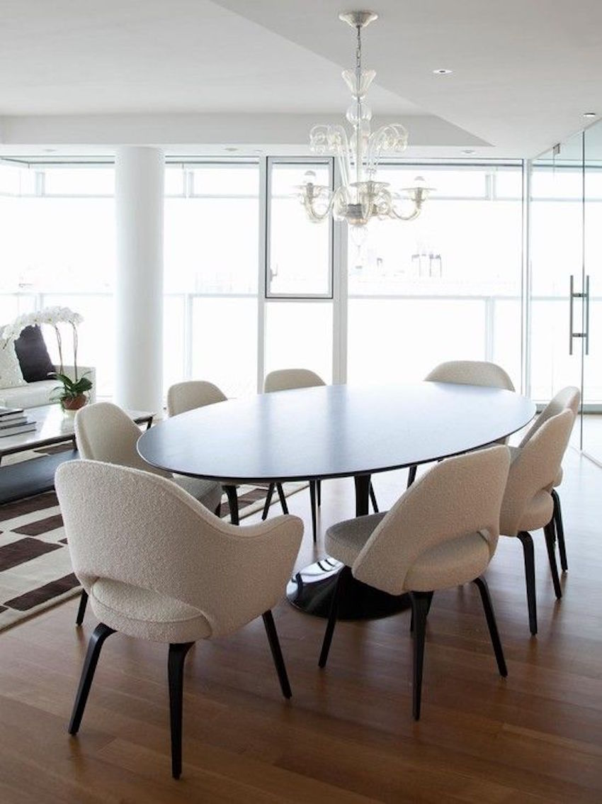 15 astounding oval dining tables for your modern dining room for White dining room table and chairs