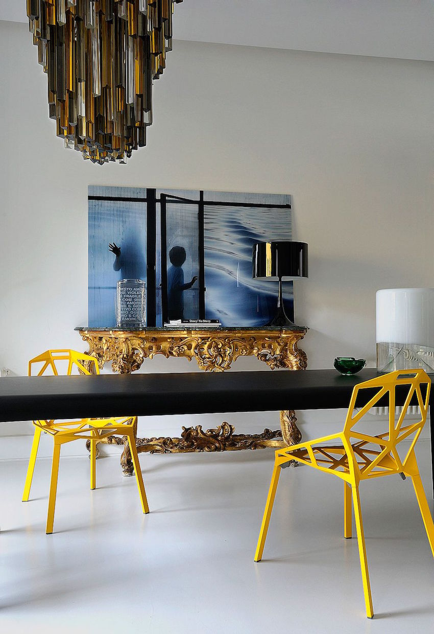 10 astonishing modern dining room sets for Modern yellow dining chairs