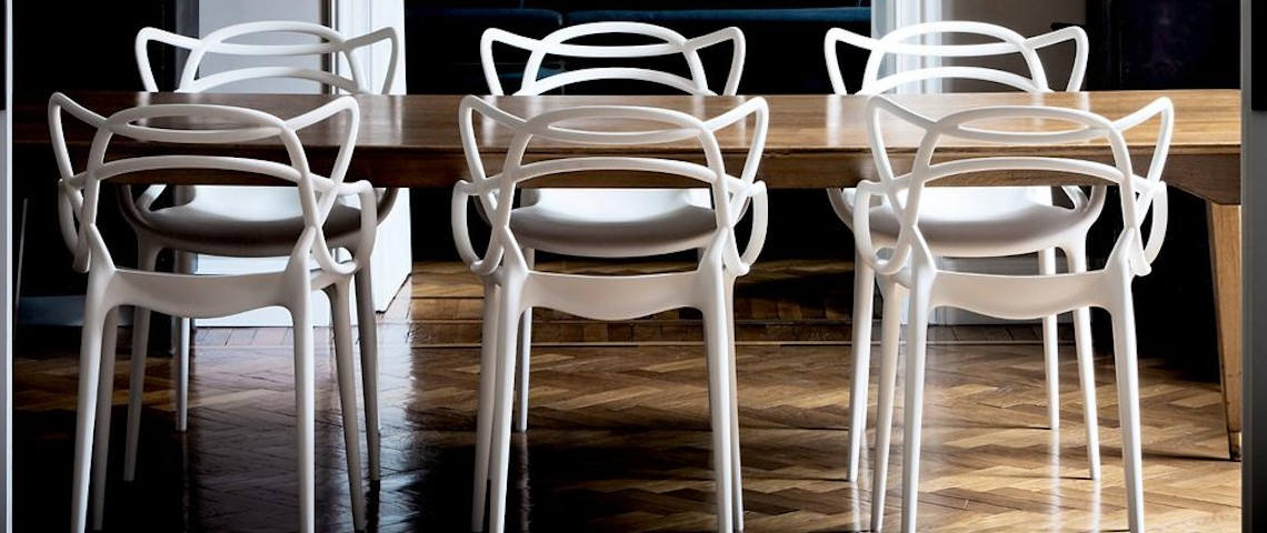 Dining Room Ideas with Modern Dining Chairs by Philippe Starck. Discover the season's newest designs and inspirations. Visit us at www.moderndiningtables.net #diningtables #homedecorideas #diningroomideas