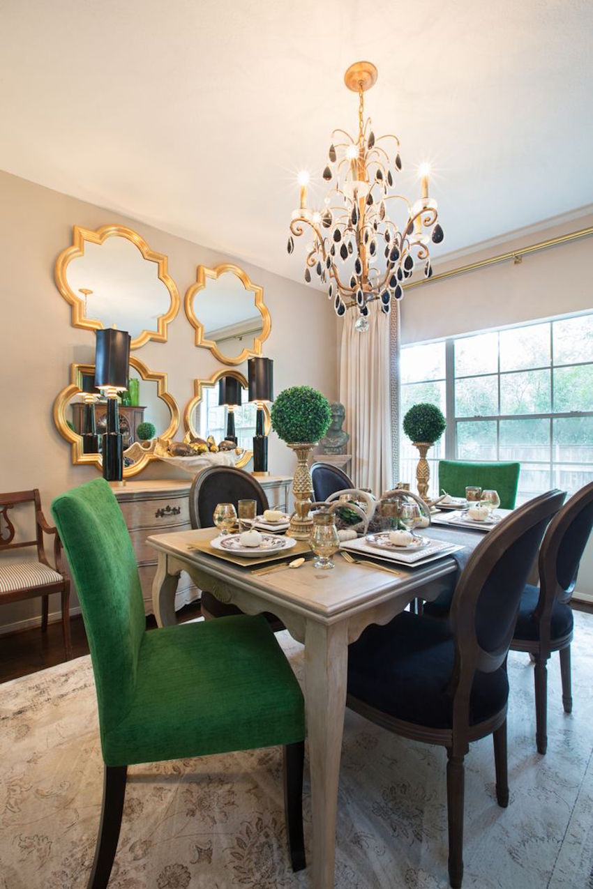 Emerald Green Black And White Dining Room Decor Ideas