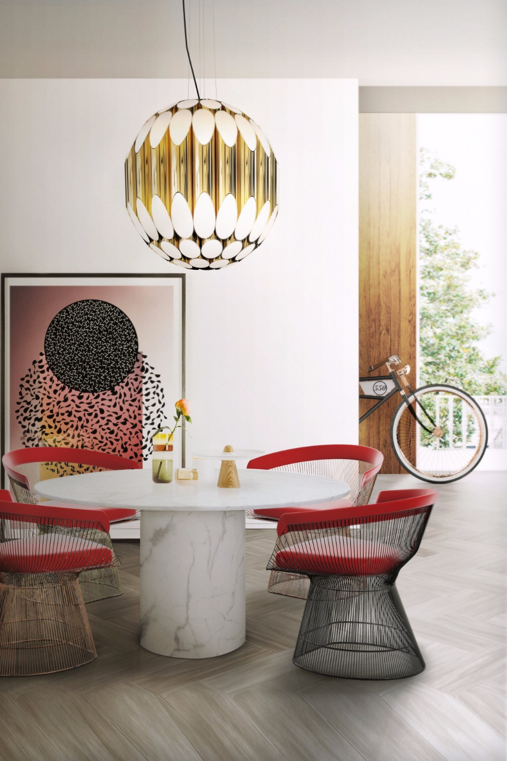 small dining table ideas 15 Inspiring Small Dining Table Ideas That You Gonna Love delightfull kravitz modern midcentury sphere suspension lamp 01