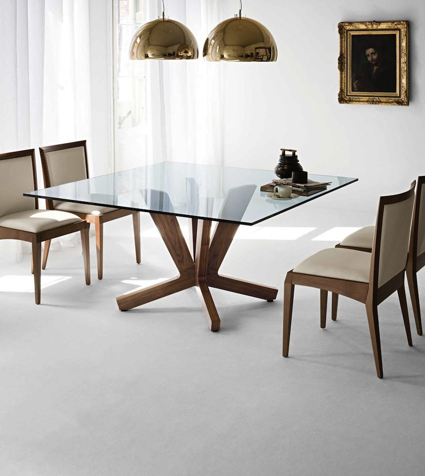 10 shimmering square glass dining tables that will impress you for Square dining table designs