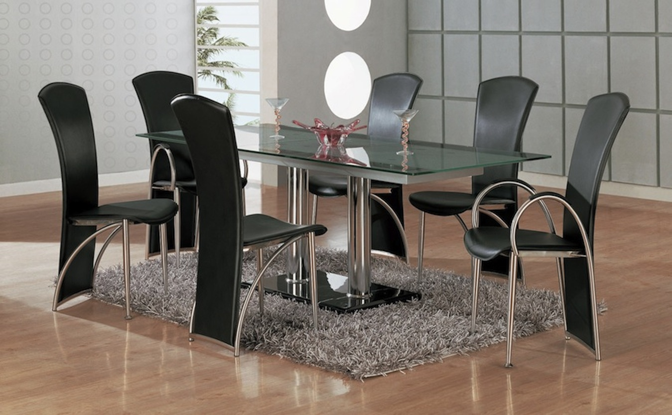 7 modern dining room sets with stunning metal dining tables for Modern dining table and chairs set
