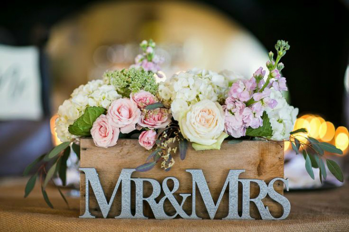 just married Just Married Just Married ! Find Your Wedding Dining Table flowers in wooden box wedding centerpiece with mr and mrs