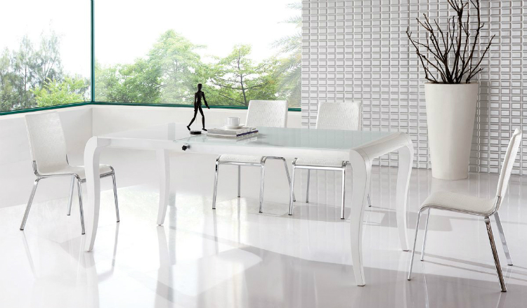 white dining table white dining table White Dining Tables For an Elegant Dining Room Brisk White Contemporary Extendable Dining Table contemporary style1