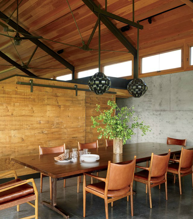 vintage-lightolier-pendants-from-20th-century-gallery-are-paired-with-a-custom-made-walnu midcentury Midcentury-Modern Dining Rooms Vintage Lightolier pendants from 20th Century Gallery are paired with a custom made walnu