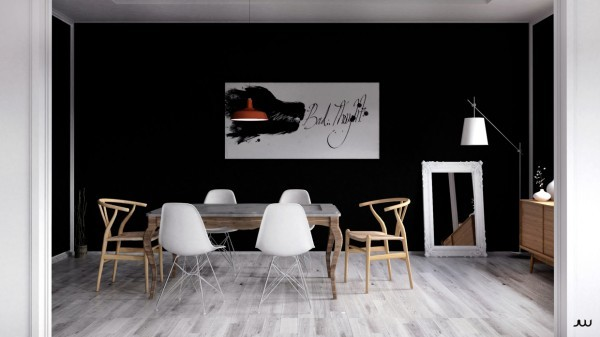 black-wall-dining-room-600x337 scandinavian 15 Scandinavian Dining Tables black wall dining room