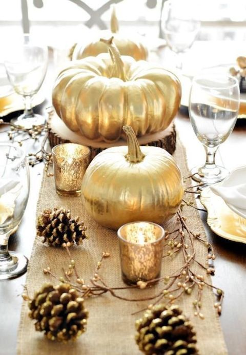 gallery-1442009277-gold1 centerpiece 10 Fall Centerpieces for your Dining Room gallery 1442009277 gold1 1