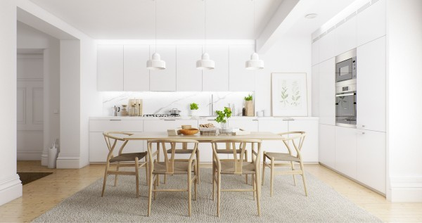 white-and-wood1-600x317 scandinavian 15 Scandinavian Dining Tables white and wood1