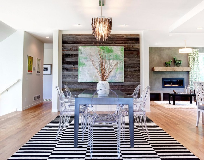 contemporary-dining-room-with-acrylic-dining-tables-and-reclaimed-wood-accent-wall reclaimed wood How to Merge Reclaimed Wood into Your Dining Room Contemporary dining room with acrylic dining tables and reclaimed wood accent wall