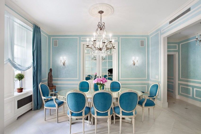 french-classic-and-victorian-styles-rolled-into-one-in-this-gorgeous-dining-room-in-blue victorian 10 Superb Victorian Dining Rooms  French classic and Victorian styles rolled into one in this gorgeous dining room in blue