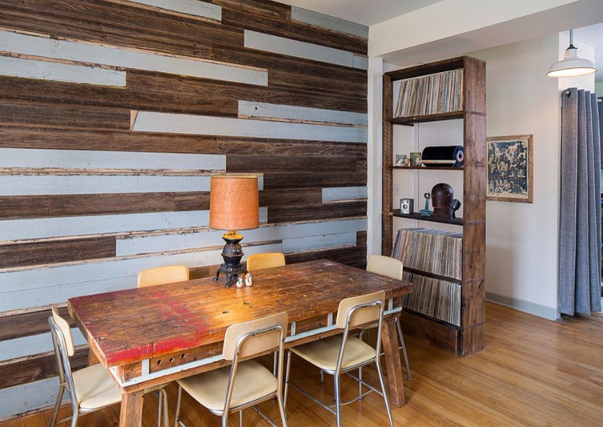 give-old-wooden-planks-a-new-lease-of-life-in-the-dining-room reclaimed wood How to Merge Reclaimed Wood into Your Dining Room Give old wooden planks a new lease of life in the dining room
