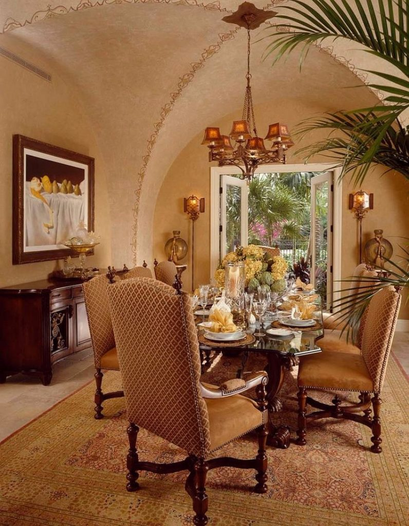 opulent-mediterranean-moroccan-dining-room-with-textured-walls moroccan Give your Dining Room a Moroccan Twist Opulent Mediterranean Moroccan dining room with textured walls