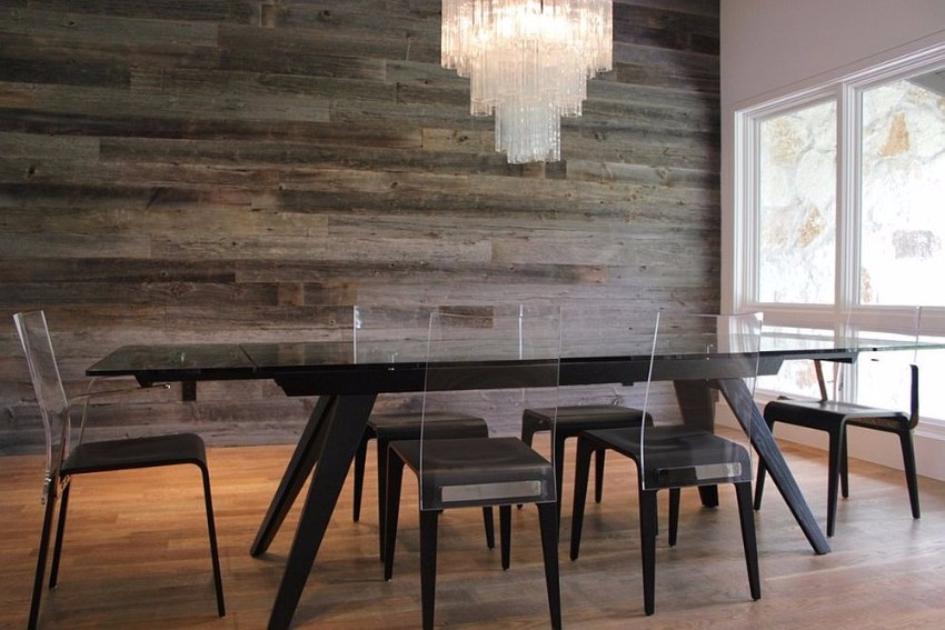 reclaimed-barn-wood-accent-wall-in-the-contemporary-dining-room reclaimed wood How to Merge Reclaimed Wood into Your Dining Room Reclaimed barn wood accent wall in the contemporary dining room