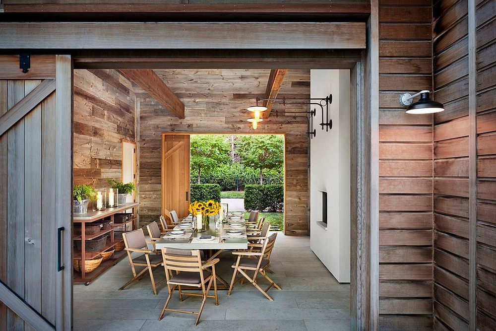 Doors Rustic Dining Room Utilizes Space Saving Sliding Barn Door