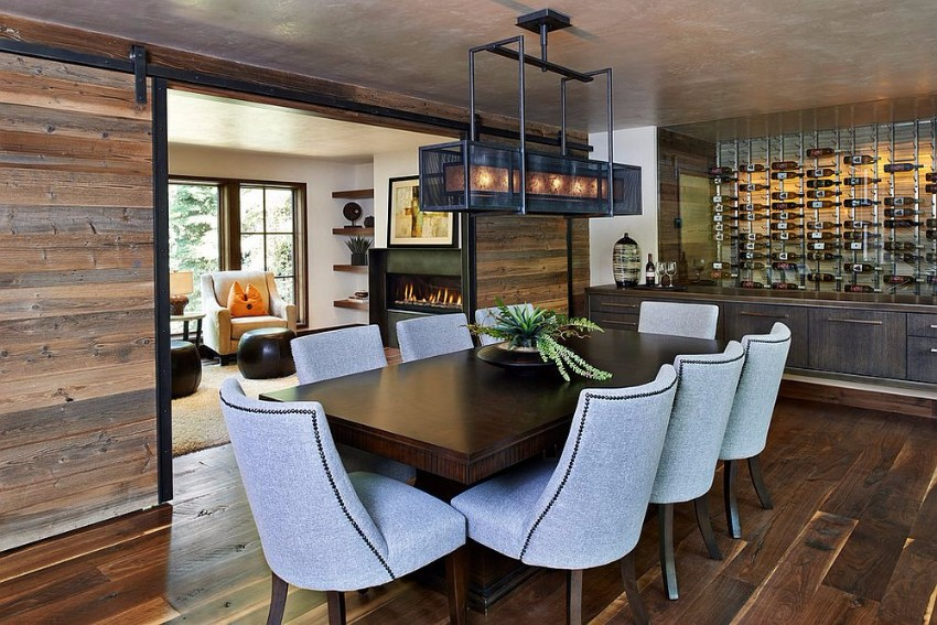 sliding-barn-doors-bring-reclaimed-wood-to-this-rustic-dining-room reclaimed wood How to Merge Reclaimed Wood into Your Dining Room Sliding barn doors bring reclaimed wood to this rustic dining room
