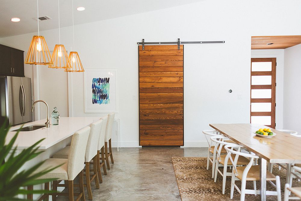 Dining rooms with sliding doors for Barn door dining room