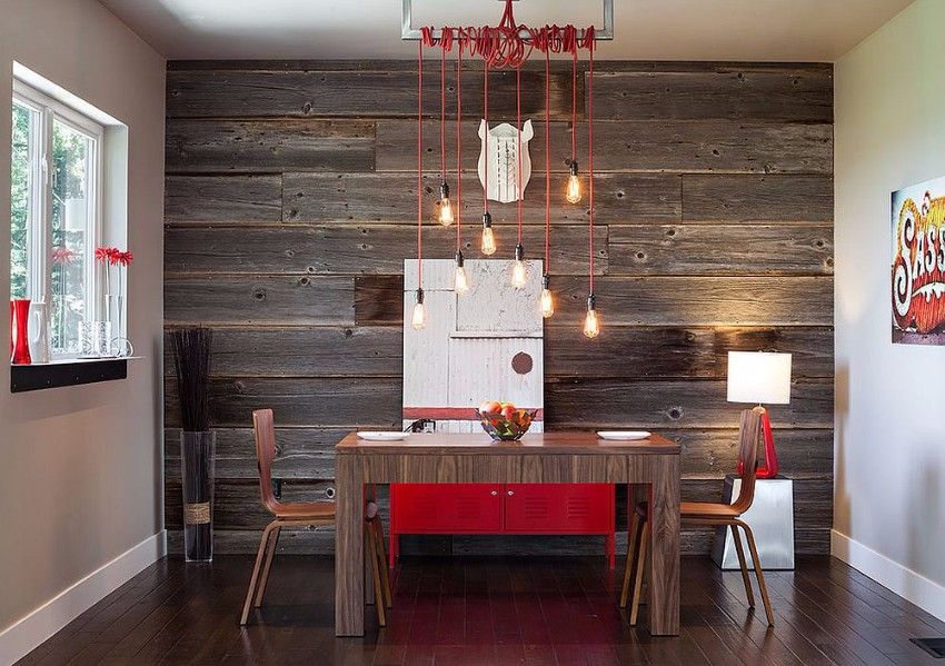 stunning-industrial-modern-dining-room-with-a-hint-of-red-and-reclaimed-wood-feature-wall reclaimed wood How to Merge Reclaimed Wood into Your Dining Room Stunning industrial modern dining room with a hint of red and reclaimed wood feature wall