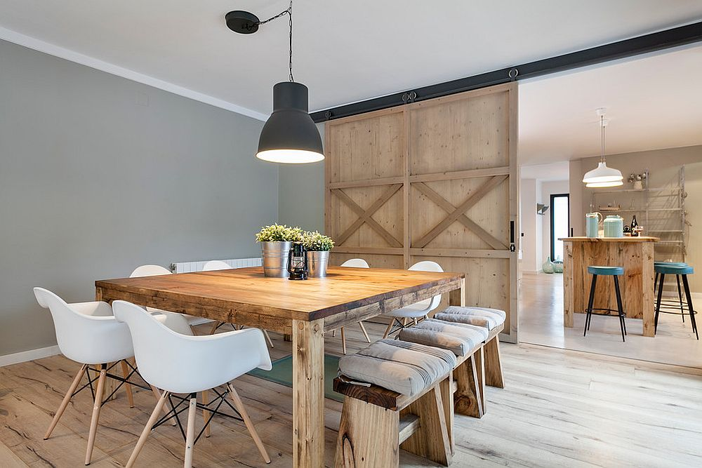 sliding doors sliding doors Dining Rooms with Sliding Doors Stylish dining room in gray with modern farmhouse appeal