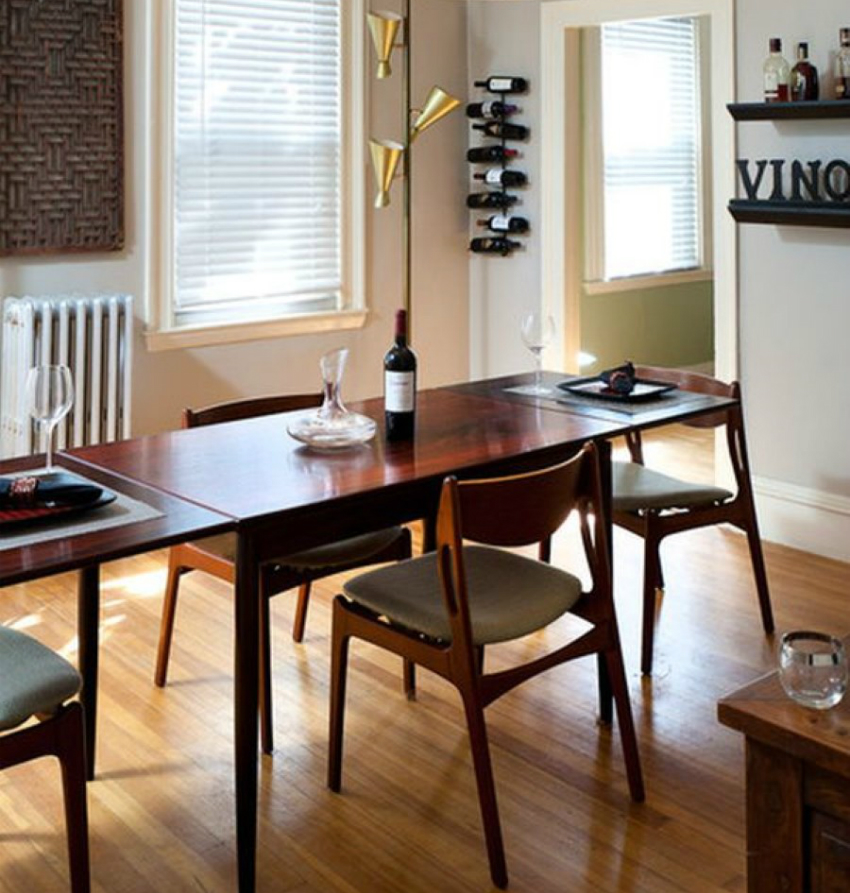 dining room cool pendant lamps above mid century modern dining table. Black Bedroom Furniture Sets. Home Design Ideas