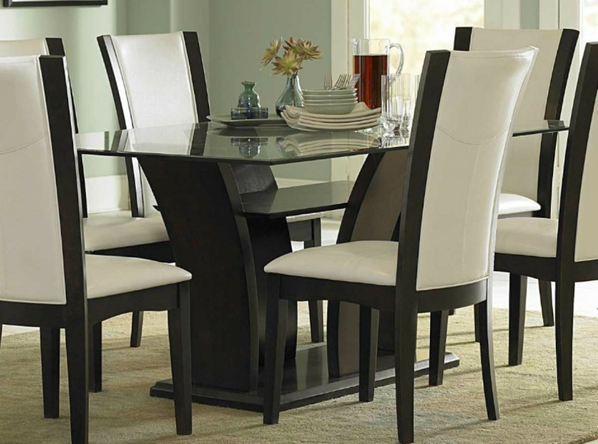 The Most Sophisticated White Leather Dining Chairs : dining room focus on contemporary white leather chairs design also stunning glass top table idea from moderndiningtables.net size 850 x 632 jpeg 325kB