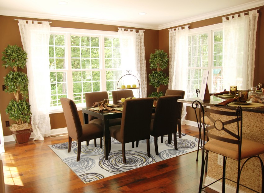 Fascinating Brown Dining Room Theme Color With White