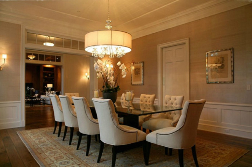 great-round-chandelier-or-black-table-idea-feat-rectangular-area-rug-design-and-comfy-white-leather-dining-chairs