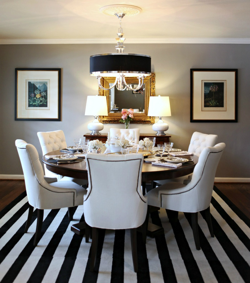 lines-pattern-rug-idea-feat-comfortable-white-leather-dining-chairs-plus-round-table-design-or-elegant-pendant-lights