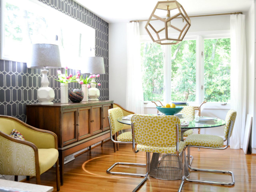 mid-century-dining-chairs-design-feat-geometric-lamp-shade-idea-and-round-glass-table-plus-antique-buffet