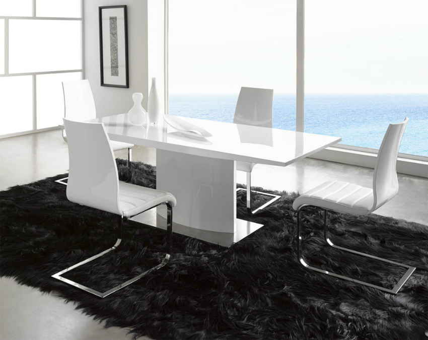 stylish-white-leather-dining-chairs-with-metal-frame-plus-amazing-black-fluff-area-rug-and-narrow-table-idea