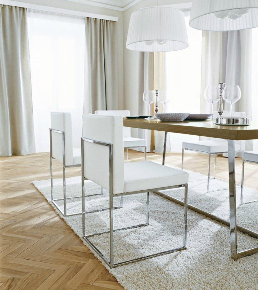 trendy-laminate-floor-design-or-cool-white-leather-dining-chairs-and-shag-area-rug-idea-plus-oversized-pendant-lamps
