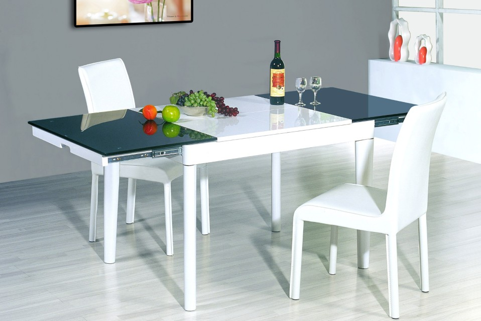 unique-rectangular-table-design-and-gray-painted-floor-idea-also-modern-white-leather-chairs