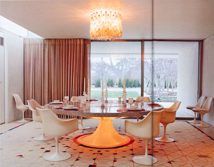 unusual-ceiling-lights-or-large-round-table-design-and-mid-century-dining-chairs-plus-geometric-floor-tile-idea