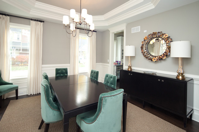 Black Wooden Dining Table Also Turquoise Room