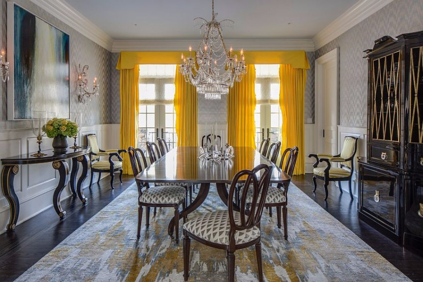 bright-yellow-drapes-make-a-bold-statement-in-the-all-gray-dining-room dining room Gray and Yellow: Stylish Color Duo for your Dining Room Bright yellow drapes make a bold statement in the all gray dining room