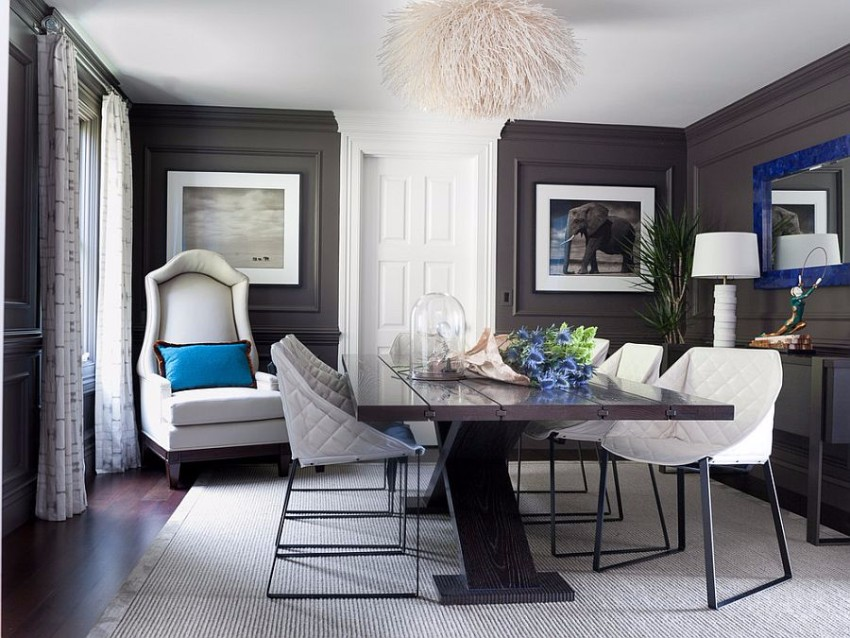 gray dining room The Finest Gray Dining Rooms for your House Dark gray walls and royal blue accents in the classy dining room