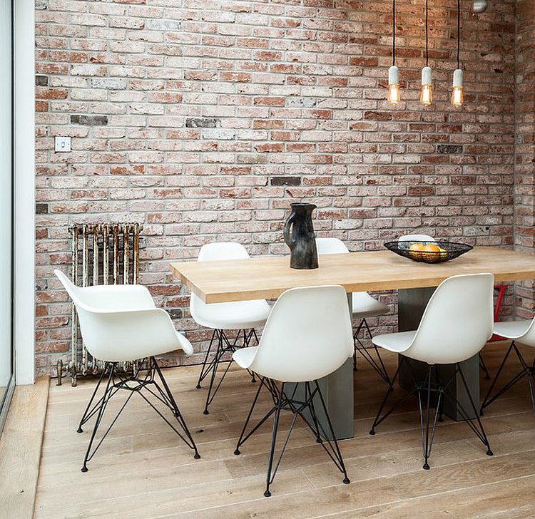 dining-space-in-the-corner-of-industrial-living-area-with-conservatory-roof brick wall 10 Audacious Dining Rooms with Brick Walls Dining space in the corner of industrial living area with conservatory roof
