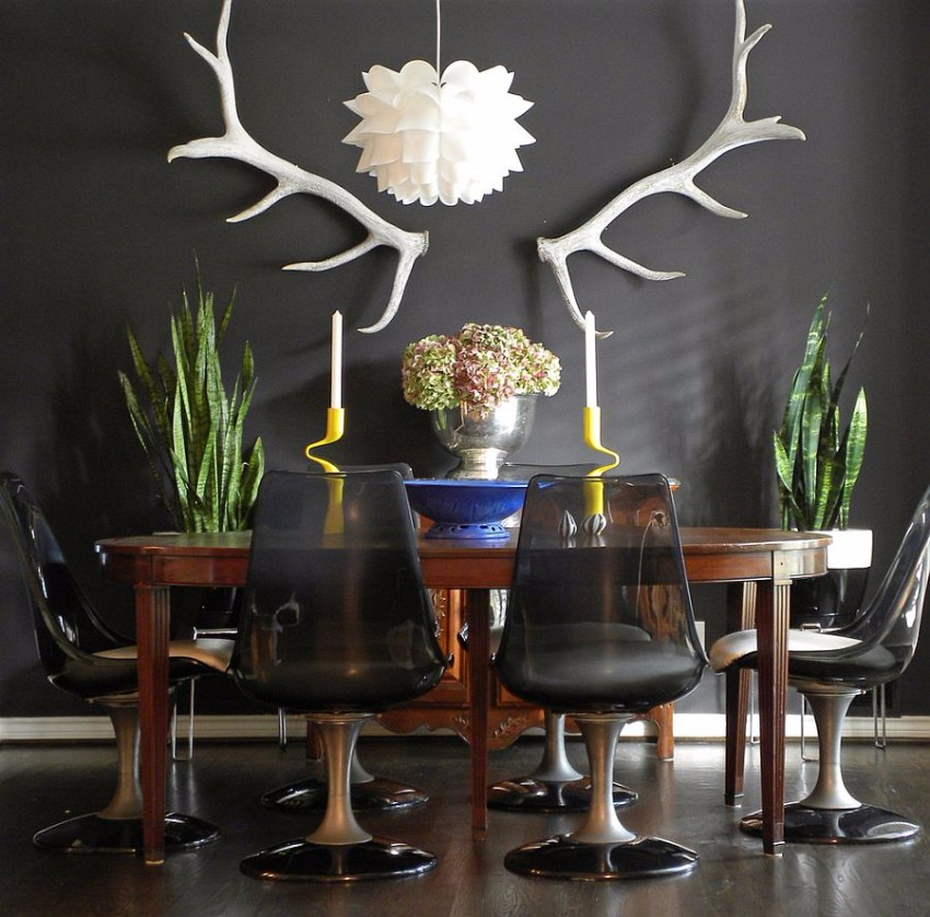 gray dining room The Finest Gray Dining Rooms for your House Eclectic dining room with dark refined appeal