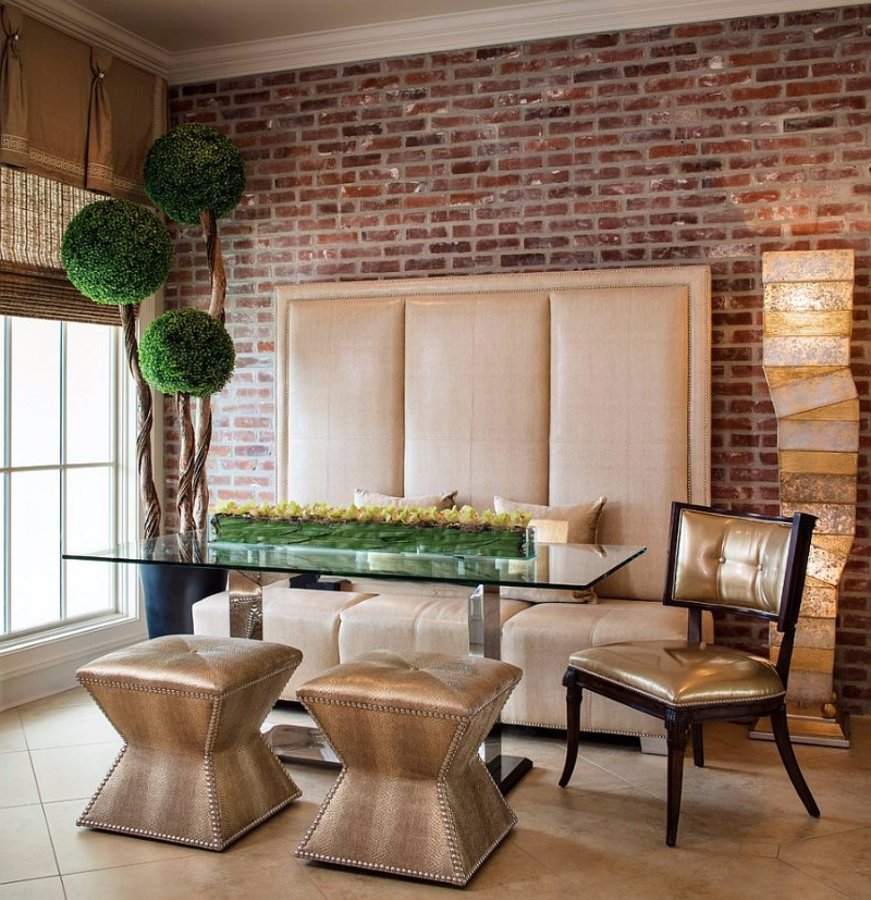 exquisite-contemporary-dining-room-dazzles-with-custom-banquette-decor-and-a-pinch-of-greenery brick wall 10 Audacious Dining Rooms with Brick Walls Exquisite contemporary dining room dazzles with custom banquette decor and a pinch of greenery