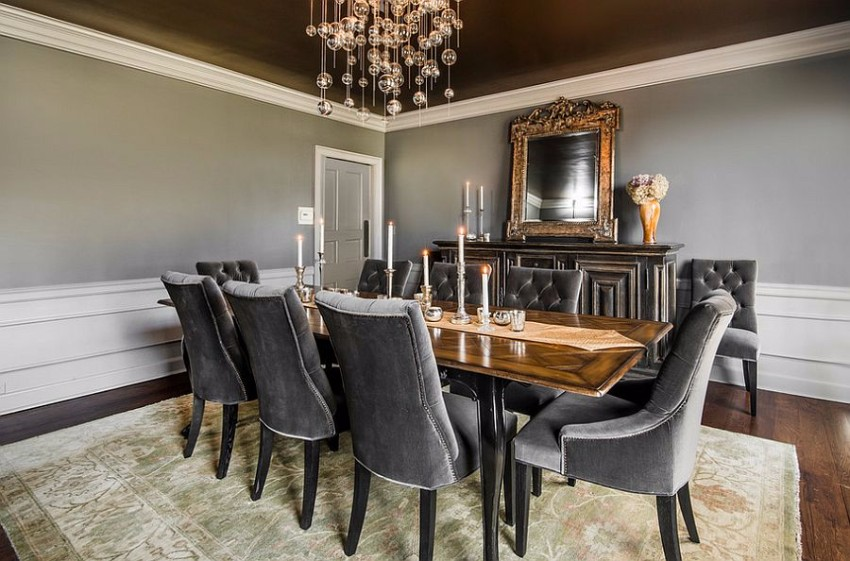 gray dining room The Finest Gray Dining Rooms for your House Extensive use of gray in the transitional dining room